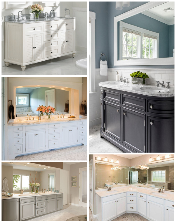 Different colours of bathroom vanities