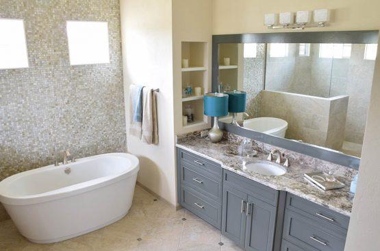 Bathroom vanity with Giallo Verona countertop
