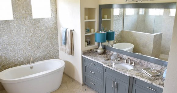Bathroom vanity with Giallo Verona countertop