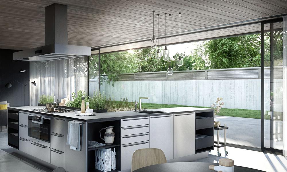 Kitchen design with herb garden