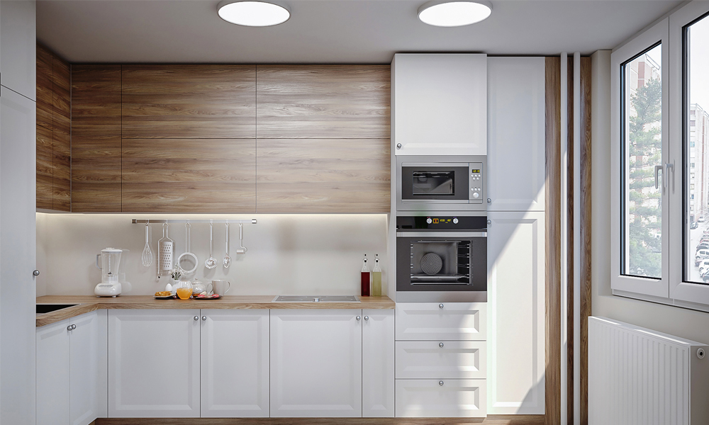 Kitchen design with mounted cupboard